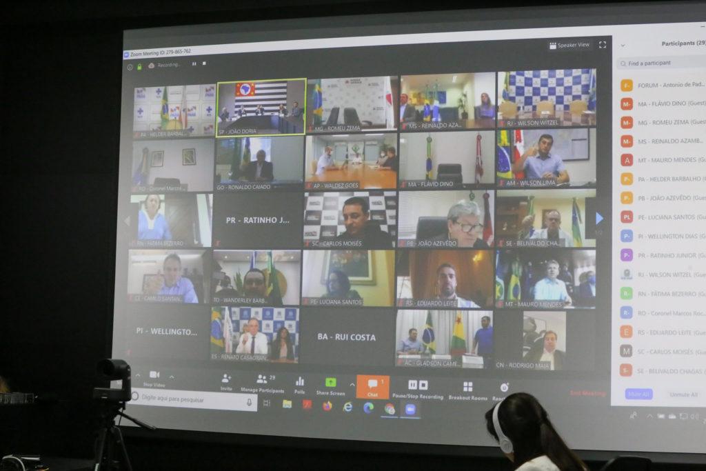 Apenas o governador de Brasília não participou da teleconferência. Foto: GovSP
