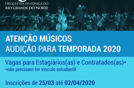 Orquestra Sinfônica do RN anuncia audições virtuais do processo seletivo para Temporada 2020