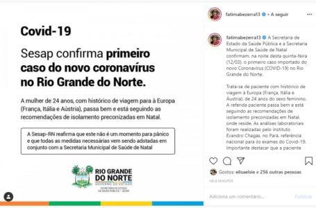 Primeiro caso de Coronavírus é confirmado no Rio Grande do Norte