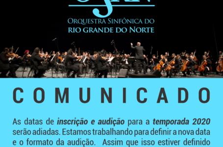 Inscrições e audições da Orquestra Sinfônica do RN para temporada 2020 são adiadas