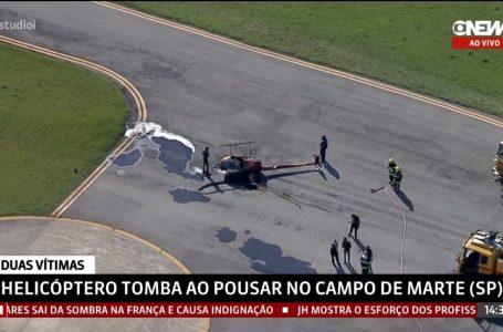 Helicóptero cai dentro do Aeroporto Campo de Marte, na Zona Norte de São Paulo