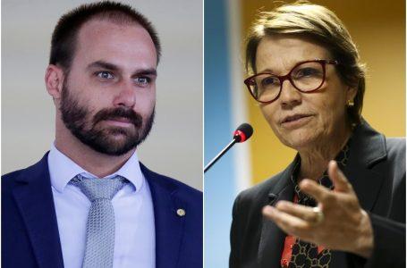Ministra Tereza Cristina e o deputado Eduardo Bolsonaro testam positivo para Covid-19